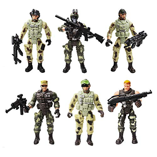 Soldier Action Figure Toy Army Men with Weapon Accessories/ SWAT Team Figure Military Playset for Boys Girls Children Kids 3 4 5 6 7 8 9 Years Old,Great as Christmas,Birthday,Set of 6 (Special Troops)