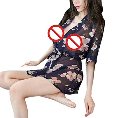 Women Lingerie,Napoo Chiffon Printing Babydoll Sleepwear Dress Bathrobes With Belt (Dark Blue)
