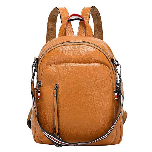 ALTOSY Fashion Genuine Leather Backpack Purse for Women Shoulder Bag Causal Daypack (S9, Wheat)