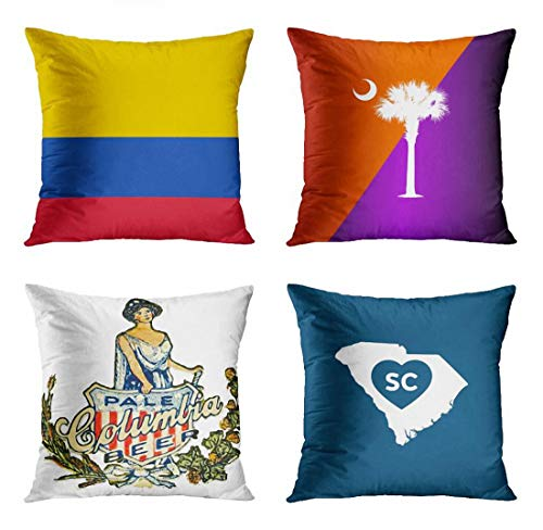 ArtSocket Set of 4 Throw Pillow Covers Football Colombia Flag World Cup Sports Soccer National Clemson South Carolina Decorative Pillow Cases Home Decor Square 18x18 Inches Pillowcases -