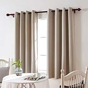 Deconovo Room Darkening Thermal Insulated Blackout Eyelet Top Window Curtain Panels for Living Room Light Beige 132x214 cm 2 Panels