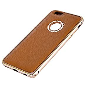 """STARWOOD Simple and Stylish Leather Cell Phone Case for Apple iPhone 6 (4.7"""") with Metal Frame and Crystal Ornaments (Brown)"""
