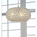 Francisca Oval-shaped Crystal and Chrome 3-light Chandelier For Sale