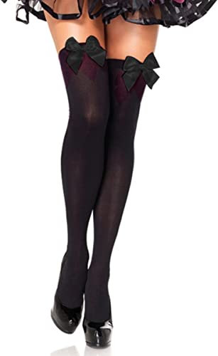 Stockings Hold Ups Thigh Highs Red Leg Avenue One Size 90-160lbs Bow