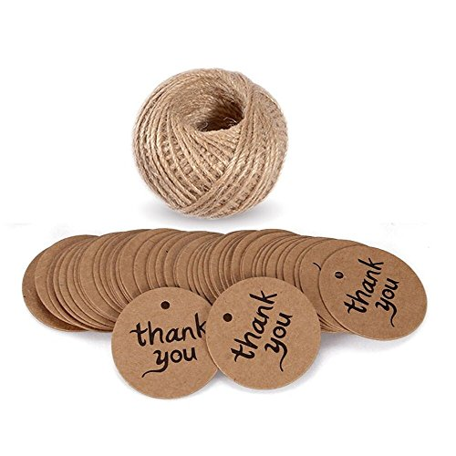 Thank You Tags with String, G2PLUS 100 PCS Kraft Paper Gift Tags, Brown Christmas tags, Party Favor Hang Tags with 100 Feet Natural Jute Twine for Cra…