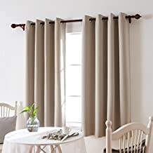 Deconovo Thermal Insulated Blackout Drape Grommet Window Curtain For Living Room 52 Inch By 63 Inch Light Beige 1 Panel