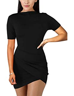 51c9afcc1 BORIFLORS Women's Sexy Wrap Front Long Sleeve Ruched Bodycon Mini Club Dress