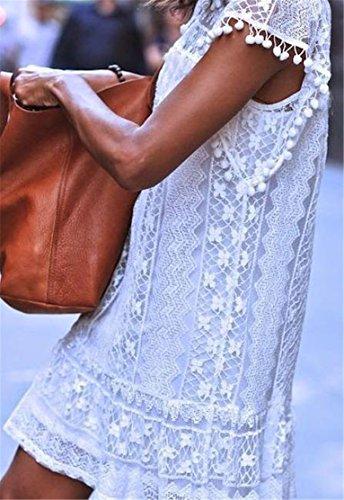 Sleeveless Elegant Lace Hollow Midi Cromoncent White Sundress Womens Dress Swing 4aqtnxAX