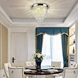 DLLT Crystal Chandelier Lighting, 3-Lights Modern