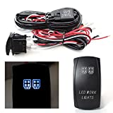 iJDMTOY 2-Output Universal Relay Wiring Harness with LED Work Light Blue LED Light ON/OFF Rocker Switch, Good For Off-Road LED Light Bar, LED Pod Lights, Aftermarket Fog Lights, Driving Lights, etc