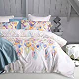 Aivedo 600 Thread Count Cotton Duvet Cover Set Egyptian Quality Bedding Set Peacock Printing Watercolor Pattern,1 Duvet Cover 1 Pillow Shams - Twin Size