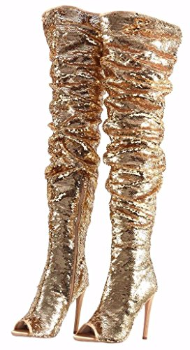 Women's Fashion Peep Toe Sparkle Sequins Thigh High Over Knee Pupms Heel Christmas Party Dance Boots Gold Size 10.5 EU43 -