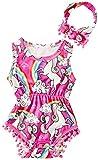 Leapparel 1-2 Years OldsToddler Baby Girls Animal Print Unicorn Sleeveless Romper Summer Bodysuit Jumpsuit Outfits with Headband,Unicorn,6-12 Months (Size 90)