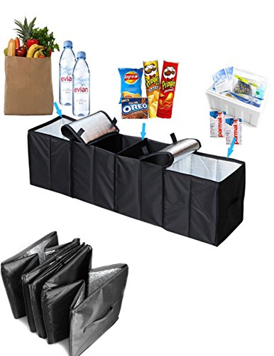 Collapsible Car Trunk Organizer, 4 in 1 Auto Truck Storage Container Foldable Multi 4 Compartments Storage Basket and Cooler & Warmer Set, Black (1973 Challenger Trunk)