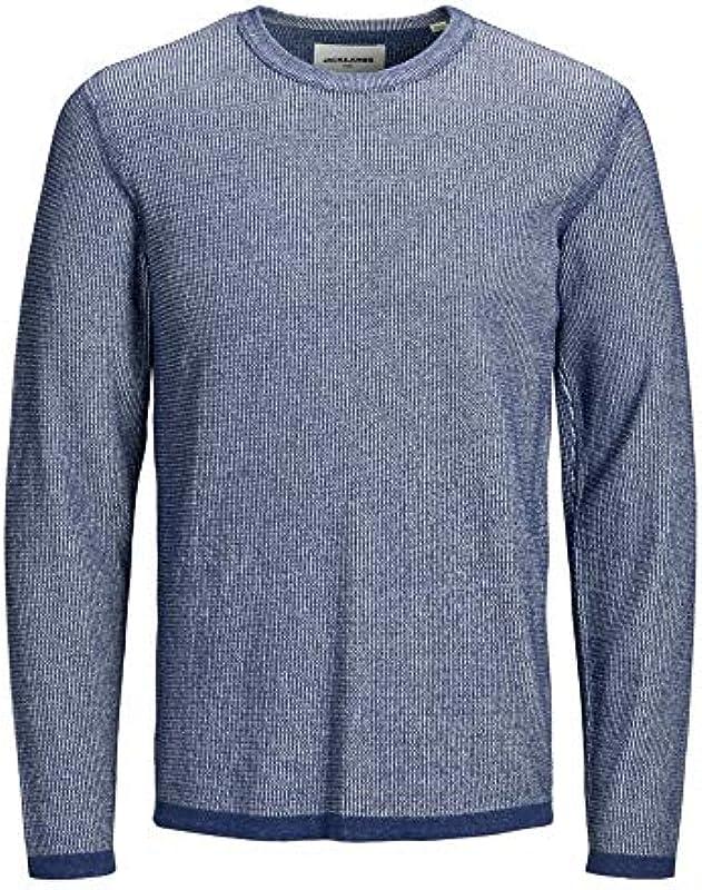 Jack&Jones Pullover Męskie Langarm Blau 12164098 JCOMERCURY Knit Crew Neck Blue Depths: Odzież
