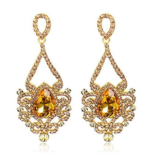Gold Austrian Crystal Earrings (Elegant Austrian Crystal Hollow out Lace Teardrop Chandelier Dangle Drop Earrings (Gold))