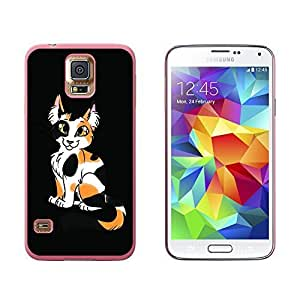 Calico Cat On Black - Snap On Hard Protective Case for Samsung Galaxy S5 - Pink