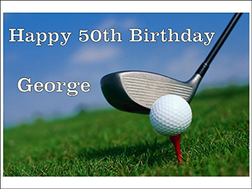 Novelty Personalised Golf / Golfer Themed A4 Edible Icing Cake Topper (Please leave personalisation as Gift Message) 5 - 10 BUSINESS DAYS DELIVERY FROM UK (Golf A4)