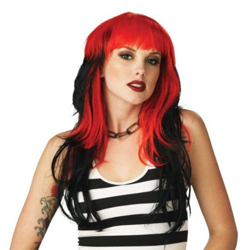 Sexy Punk Rocker Red/black Wig