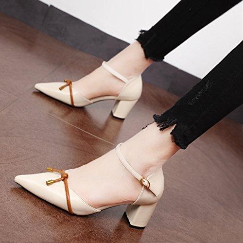 Xue Qiqi Pumps Sweet Bow Tie geschlitzten Riegel Schuh Tipp mit bold Schuhe wild teen Seite leer high-heel Schuhe