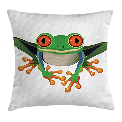 Animal Throw Pillow Cushion Cover by Lunarable, Cute Illustration of Big Red Eyed Tree Frog on Simple Background Kids Cartoon Print, Decorative Square Accent Pillow Case, 26 X 26 Inches, ()