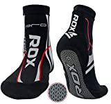 RDX MMA Socks with Grip for Boxing Yoga, Non Slip Ankle Support Anti-Skid Pilates Barre Workout, Stretchable Neoprene Slipper Socks For Grappling, Jiu Jitsu, Wrestling and Martial Arts