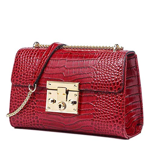 QIWANG Fashion Lady Crocodile Pattern Shoulder Bag Handbag Crossbody Bag with Chain Double Chains Design (Red)