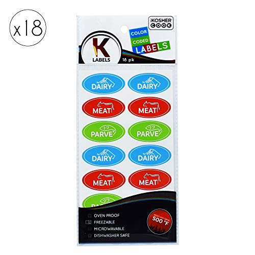 18 Assorted Kosher Labels -6 Blue Dairy, 6 Red Meat, 6 Green Parve Stickers -Oven Proof up to 500°, Freezable, Microwavable, Dishwasher Safe, English – Color Coded Kitchen Tools by The Kosher Cook ()