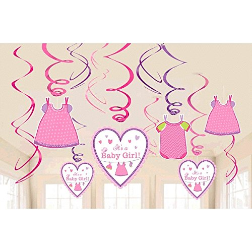 Price comparison product image Shower with Love Girl - Cute Pink Baby Girl Baby Shower Party Foil Hanging Swirl Decorations / Spiral Ornaments (12 PCS)- Party Supply,  Baby Shower Party Decorations