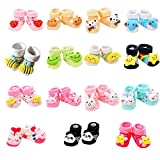 VWU 6 Pack Baby Cute Animal Socks Infant Slipper Shoes Anti Slip 0-12 Months