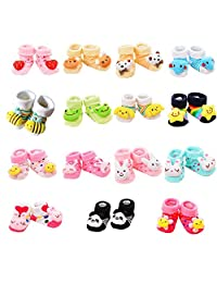VWU Random 12 Pairs Unisex Baby Cute 3D Cartoon Socks Infant Slipper Shoe Booties