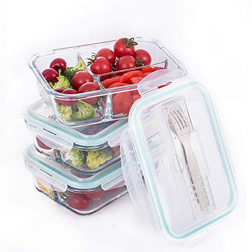 [3-Pack] Glass Meal Prep Containers 3 Compartment - Food Storage Container Set with Airtight Locking Lids with Cutlery Compartment-Suitable size for women - Microwave, Freezer, Oven & Dishwasher Safe