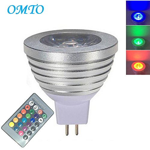 OMTO MR16 3W RGB Color Changing Spotlight with IR Remote Control Mood Ambiance Lighting Colorful LED Light Bulbs,Dimmable 12V