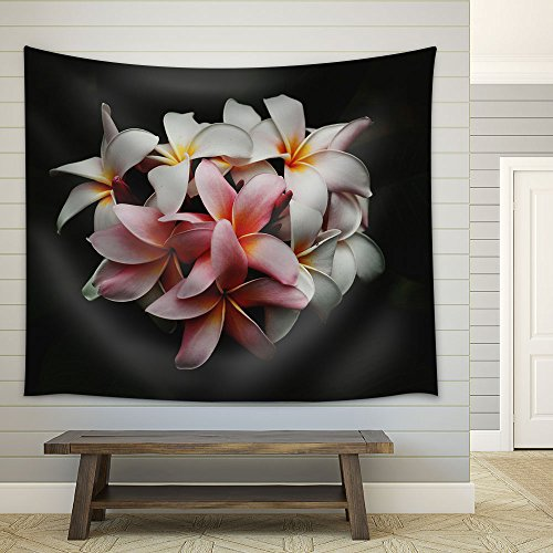White Pink Flowers in Black Background Fabric Wall