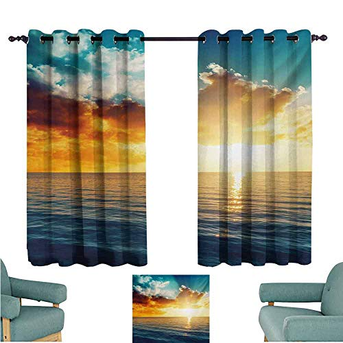 DONEECKL Bedroom Curtains 2 Panel Ocean Majestic Sunset Over The Sea Scenic Idyllic Aquatic View Morning Picture Light Blocking Drapes with Liner W63 xL45 Turquoise Orange Blue ()