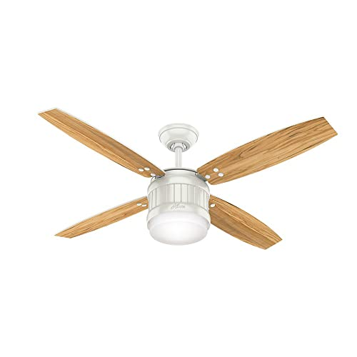 Hunter Indoor Outdoor Ceiling Fan with LED Light and remote control – Seahaven 52 inch, White, 59314
