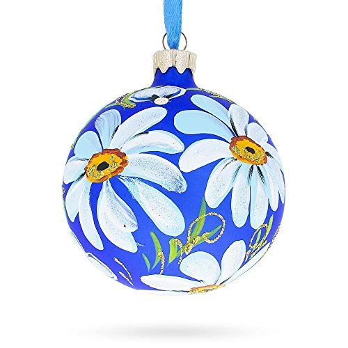 - BestPysanky Daisies Flowers Glass Christmas Ornament 3.25 Inches