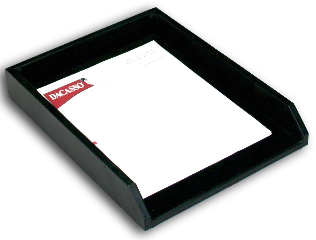 Dacasso Black Leather Letter Tray