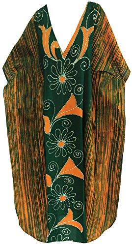 Costumi u986 Da Lungo Vestito Leela Allentato 100 Batik Cotone Verde La Delle Casuale Maxi Donne Bagno Caftano Beachwear PwvRTqWxU
