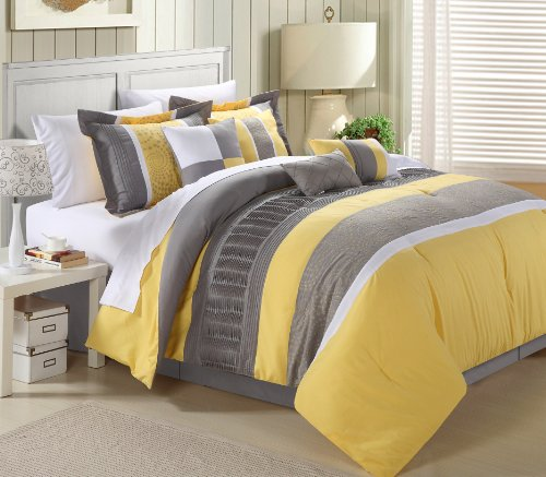 Chic Home Euphoria 12-Piece Embroidered Comforter Set Embroidery Pintuck Bedding with Sheet Set Bed Skirt and Decorative Pillows Shams, King Yellow Grey