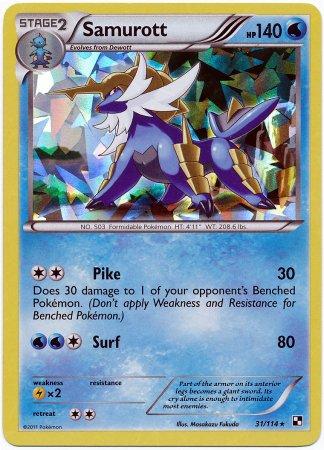 Pokemon Black /& White Single Card Samurott #31 Rare Holo