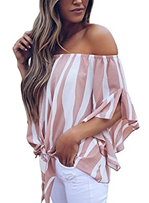 Asvivid Womens Striped Strapless 3 4 Bell Sleeve T Shirts Casual Chiffon Work Blouses Medium Pink