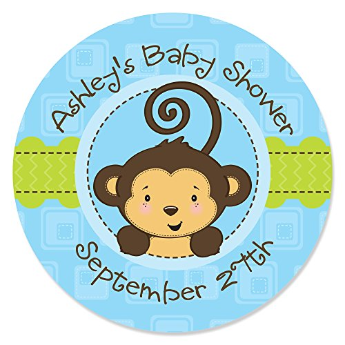 Custom Blue Monkey Boy - Personalized Party Favor Circle Sticker Labels - Set of -