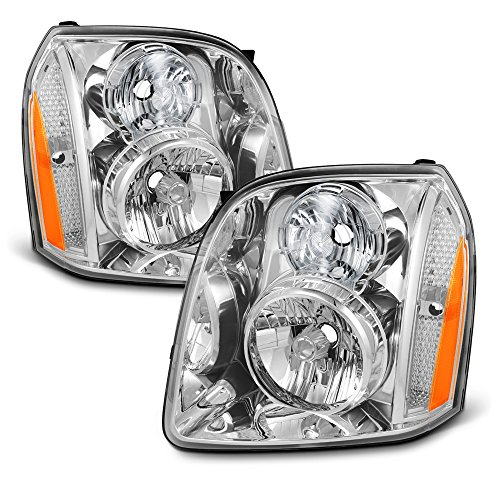 For GMC Yukon/Yukon XL Denali Hybrid Amber OE Replacement Headlights Driver/Passenger Head Lamps Pair