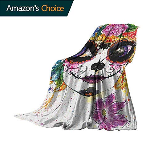 Sugar Skull Bed Blanket,Cultural Celebration Mexican Traditional Make Up Girl Face in Watercolors Art Cozy Blanket for Couch Sofa Bed Beach Travel,60