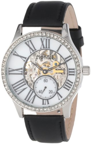 August Steiner Women's AS8035BK Crystal Skeleton Automatic Strap Watch