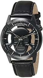 Stuhrling Original Men's 994.02 Aviator Stainless Steel Watch with Black Leather Band