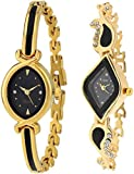 Xforia Analog Golden Black Dial Watches for Girls Pack of 2 - RG-FLX-50