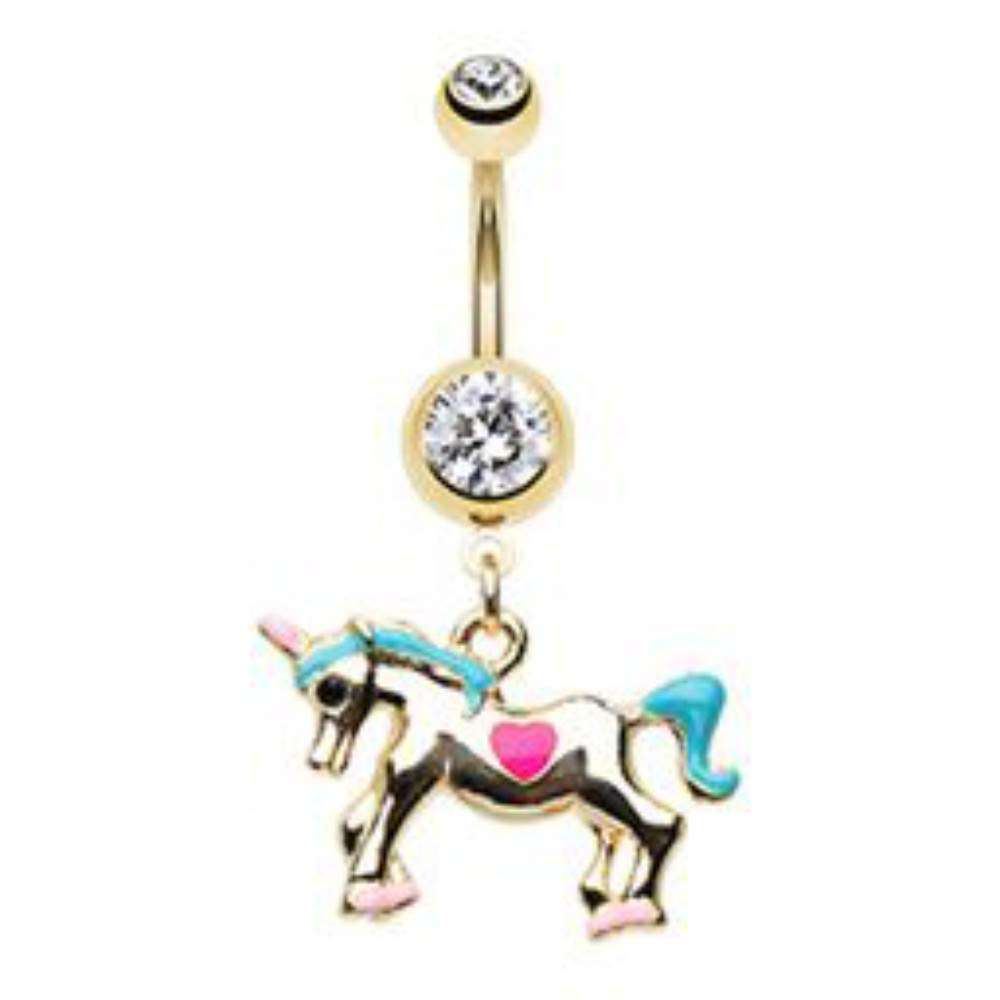 Amazon Com 14 Ga I Believe In Unicorns Belly Button Ring Sold