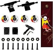 Freedare Skateboard Wheels with Bearings 52mm, Skateboard Trucks, Skateboard Grip Tape, Skateboard Tool, Skate